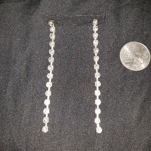 Cubic Zirconia Dangling Strand Earrings